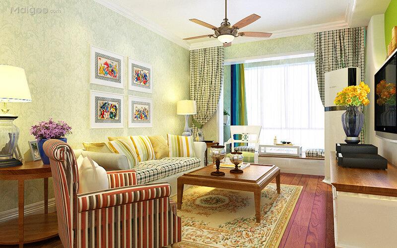 清新风格客厅沙发背景墙装修效果图(1/10)