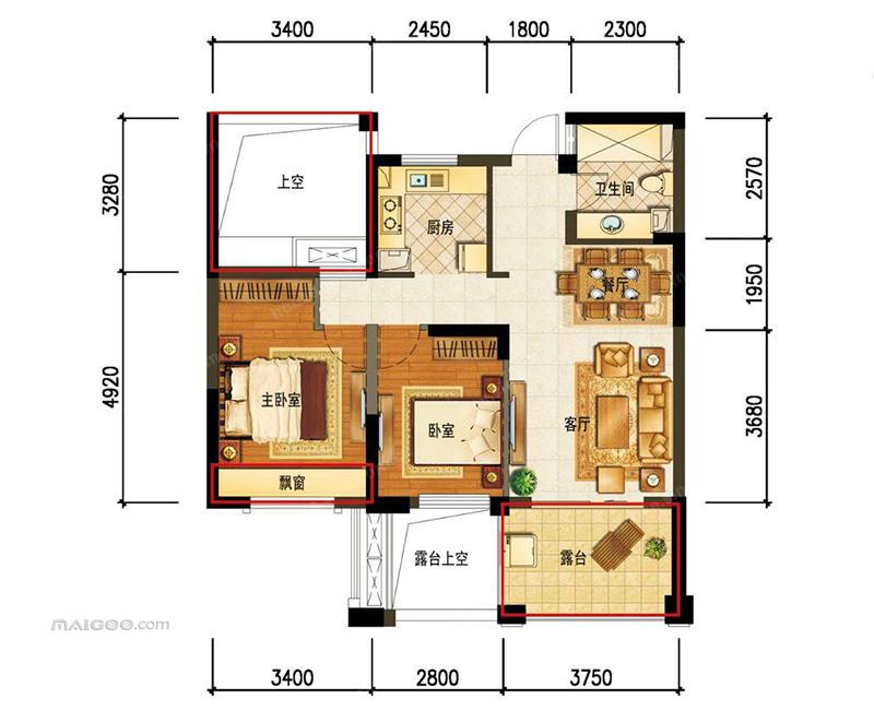 70平米两室一厅户型图房屋设计图(8/10)