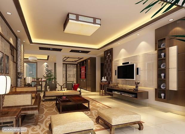 中式客厅吊顶装修要点 中式客厅吊顶效果图