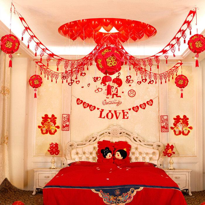 婚房拉花布置图片 婚房拉花装饰效果图图片