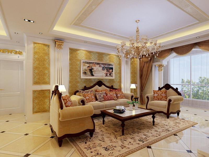 欧式沙发背景墙效果图欣赏图片