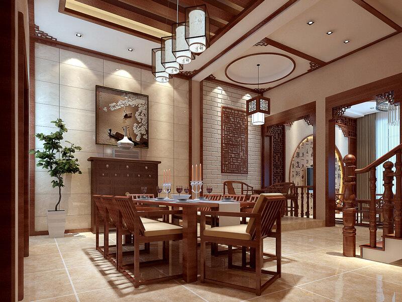 风格 精装房屋中式风格餐厅装修效果 (800x601)-房屋装修设计的